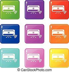 conjunto, iconos, color, colección, aire acondicionado, 9