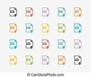 conjunto, iconos, color, etiquetas, vector, archivo, ...