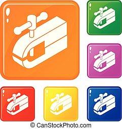 conjunto, iconos, color, máquina, vector, sujeción