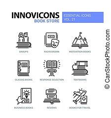 conjunto, iconos, color, moderno, -, solo, vector, línea,...