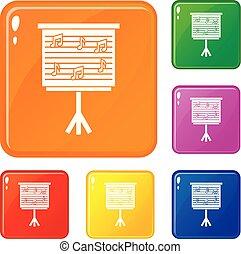 conjunto, iconos, color, notas, whiteboard, vector, música