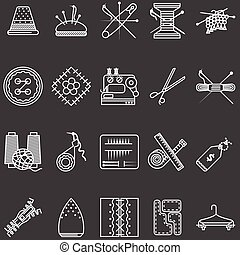 conjunto, iconos, costura, vector, línea blanca