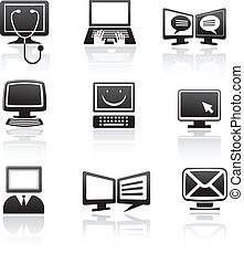 conjunto, iconos de computadora