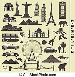 conjunto, iconos, de, la ciudad, señal, mundo