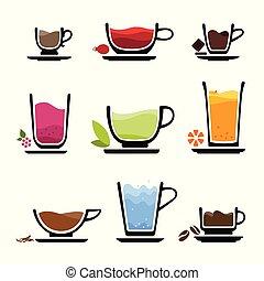 conjunto, iconos, de, taza, de, bebidas