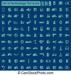 conjunto, iconos de tecnología