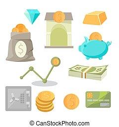 conjunto, iconos del negocio, dinero, seguro, oro, ventaja, diamantes, cerdito, inversión