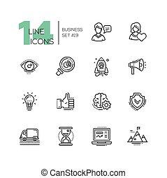 conjunto, iconos del negocio, moderno, -, sola línea