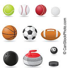 conjunto, iconos, deporte, pelotas, vector