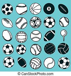 conjunto, iconos, deportes, símbolos, pelota, cómico