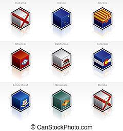 conjunto, iconos, -, estados, unido, banderas, 58a, diseñe...