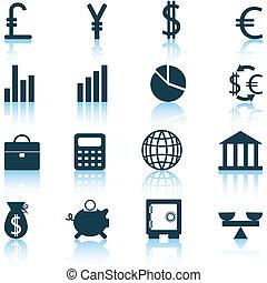 conjunto, iconos financieros