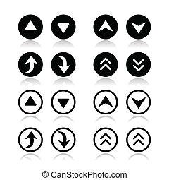 conjunto, iconos, flechas, arriba, abajo, redondo