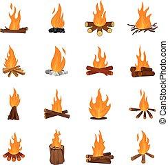 conjunto, iconos, fuego, aislado, vector, noche, hoguera