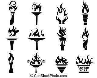 conjunto, iconos, fuego, antorcha, llama, negro