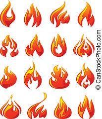 conjunto, iconos, fuego, llamas, rojo, 3d