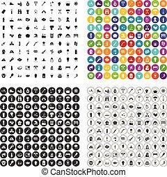 conjunto, iconos, fuego, variante, vector, 100