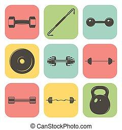 conjunto, iconos, gimnasio, señal, pesas, condición física,...