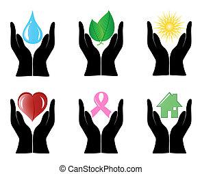 conjunto, iconos, ilustración, ambiente, vector, humano, hands.