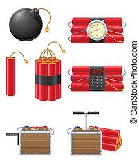 conjunto, iconos, ilustración, fusible, vector, dinamita, detonar