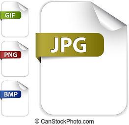 conjunto, iconos, imagen, vector, extensiones, archivo