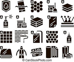 conjunto, iconos, impermeable, materiales, glyph, vector