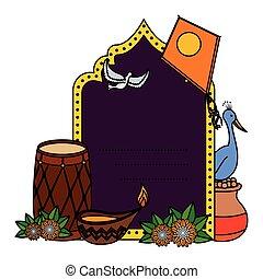 conjunto, iconos, india, invitación, tarjeta, celebración