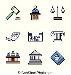 conjunto, iconos, jurado, legal, judicial, ley, juez, icono