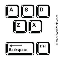 conjunto, iconos, llaves, -, l, botones, teclado