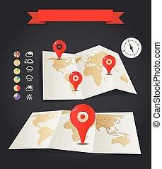 conjunto, iconos, mapas, tiempo, alfileres, tierra, rojo