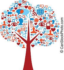 conjunto, iconos, medios, árbol, social, composición