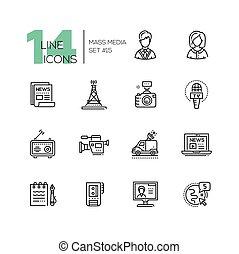 conjunto, iconos, medios, moderno, -, solo, masa, línea
