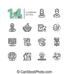 conjunto, iconos, moderno, sola línea, elearning-