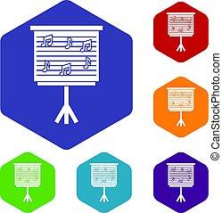 conjunto, iconos, notas, whiteboard, música, hexágono
