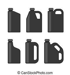 conjunto, iconos, oil., botes, plástico, máquina, vector, negro, motor, blanco