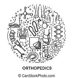 conjunto, iconos, ortopedia, círculo, colección, lineal