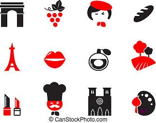 conjunto, iconos, parís, themes., francés, cartoon., vector, diseñe elementos