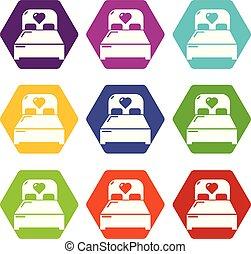 conjunto, iconos, pareja, cama, vector, boda, 9