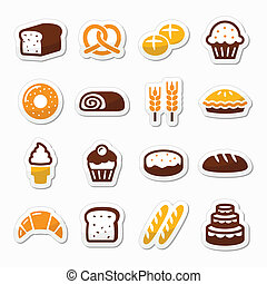 conjunto, iconos, -, pastel, panadería, bread