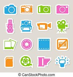 conjunto, iconos, pegatina, cámara, vídeo