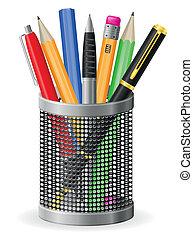 conjunto, iconos, pluma y, lápiz, vector