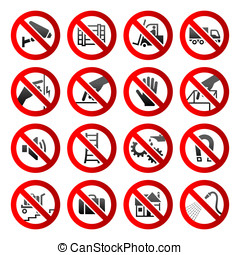 conjunto, iconos, prohibido, símbolos, industrial, peligro, señales