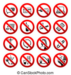 conjunto, iconos, prohibido, símbolos, oficina, negro, señales