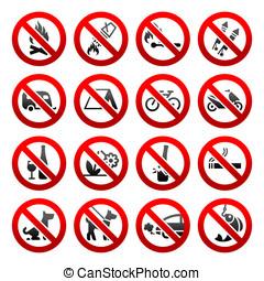 conjunto, iconos, prohibido, señales, naturaleza, símbolos