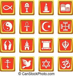 conjunto, iconos, religión, vector, cuadrado, rojo