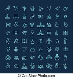 conjunto, iconos, religión, vector, delgado, style.