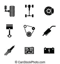 conjunto, iconos, repuestos de automóviles, vector, negro