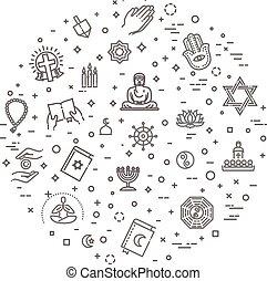 conjunto, iconos, símbolos, religiones, vector, mundo, ...