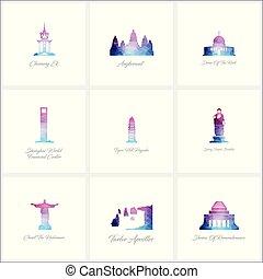 conjunto, iconos, señales, vector, diseño, fomous, mundo