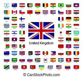 conjunto, iconos, soberano, estados, banderas, brillante, mundo, blanco